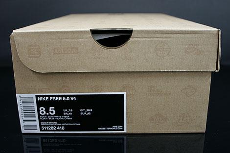 Nike Free 5.0 V4 Blau Weiss Neongelb Schuhkarton