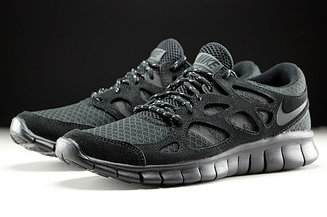 Nike Free Run 2 Schwarz Anthrazit Seitendetail