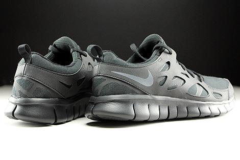 Nike Free Run 2 GS Schwarz Dunkelgrau Rueckansicht