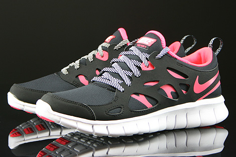Nike Free Run 2 GS Black Hyper Punch White Sidedetails