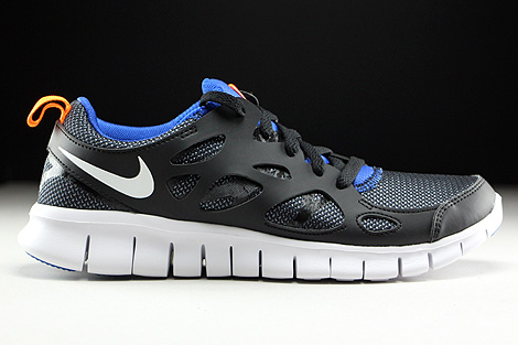 Nike Free Run 2 GS Black White Total Orange Game Royal