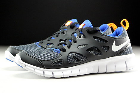 Nike Free Run 2 GS Black White Total Orange Game Royal Profile