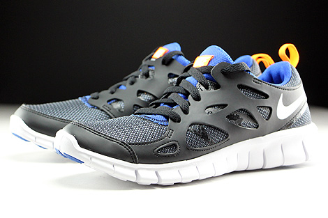 Nike Free Run 2 GS Black White Total Orange Game Royal Sidedetails
