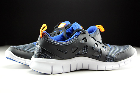 Nike Free Run 2 GS Black White Total Orange Game Royal Inside