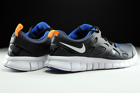 Nike Free Run 2 GS Black White Total Orange Game Royal Back view