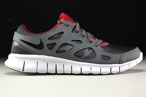 Nike Free Run 2 GS Wolf Grey Black Gym Red White