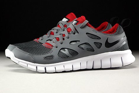 Nike Free Run 2 GS Wolf Grey Black Gym Red White Profile