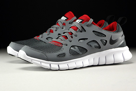 Nike Free Run 2 GS Wolf Grey Black Gym Red White Sidedetails