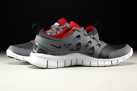 Nike Free Run 2 GS Wolf Grey Black Gym Red White Inside