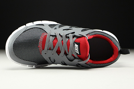 Nike Free Run 2 GS Wolf Grey Black Gym Red White Over view