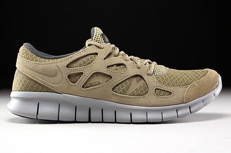 Nike Free Run 2 Khaki Flat Silver Dark Grey