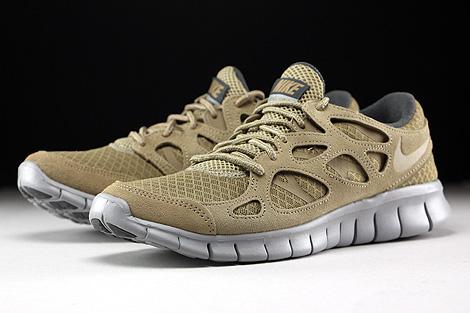 Nike Free Run 2 Khaki Flat Silver Dark Grey Sidedetails
