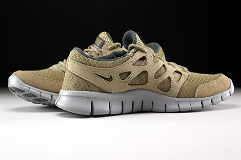 Nike Free Run 2 Khaki Flat Silver Dark Grey Inside