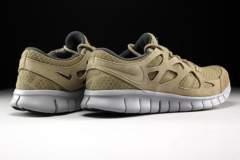 Nike Free Run 2 Khaki Flat Silver Dark Grey Back view