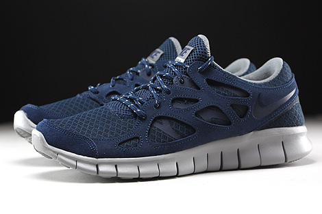 ... Nike Free Run 2 Midnight Navy Flat Silver Profile ...
