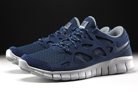 Nike Free Run 2 Midnight Navy Flat Silver Sidedetails