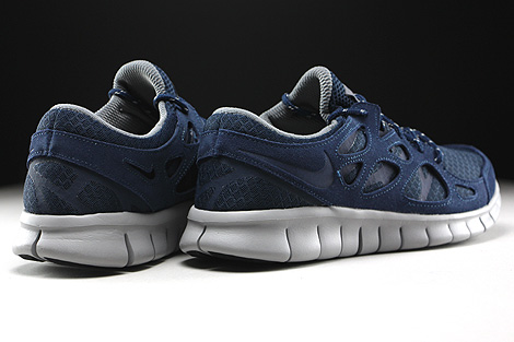 Nike Free Run 2 Midnight Navy Flat Silver Back view