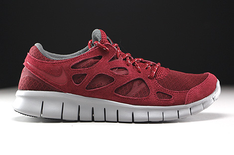 Nike Free Run 2 Team Red Flat Silver Dark Grey Right