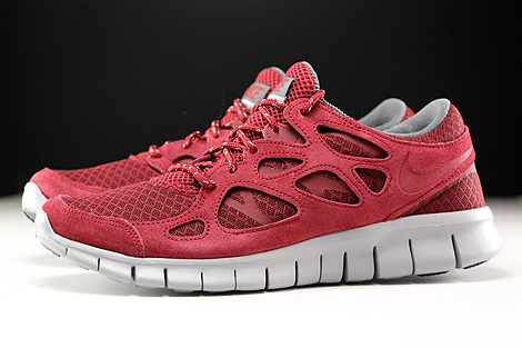 Nike Free Run 2 Team Red Flat Silver Dark Grey Profile