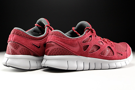 Nike Free Run 2 Team Red Flat Silver Dark Grey Back view