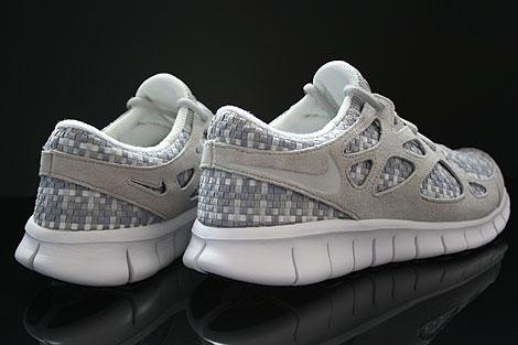 Nike Free Run 2 Woven Pure Platinum Granite Stadium Grey Back view