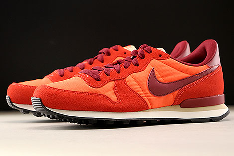 Nike Internationalist Orange Dunkelrot Weiss Seitendetail