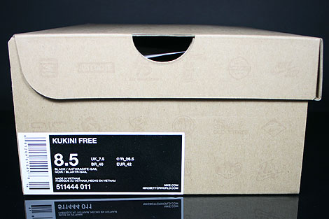 Nike Kukini Free Black Anthracite Sail Shoebox