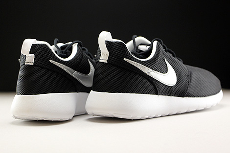 Nike Roshe One GS Black Metallic Silver White Back view