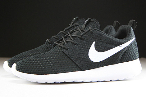 nike roshe run white black