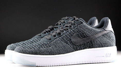 Nike WMNS Air Force 1 Flyknit Low Black White Profile