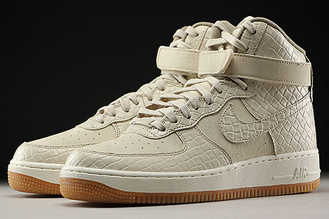 Nike WMNS Air Force 1 High Premium Beige Creme Hellbraun Seitendetail