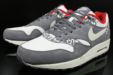 nike wmns air max 1 leopard grau weiss creme rot 319986. Black Bedroom Furniture Sets. Home Design Ideas