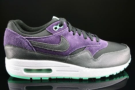 sale retailer 4a1a8 017dc ... Nike WMNS Air Max 1 Essential Black Anthracite Purple Green Glow Right  ...