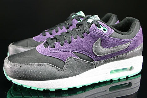 Nike WMNS Air Max 1 Essential Black Anthracite Purple Green Glow Profile