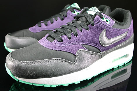 Nike WMNS Air Max 1 Essential Black Anthracite Purple Green Glow Sidedetails