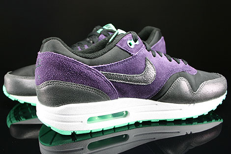 Nike WMNS Air Max 1 Essential Black Anthracite Purple Green Glow Inside