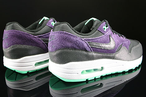 Nike WMNS Air Max 1 Essential Black Anthracite Purple Green Glow Back view