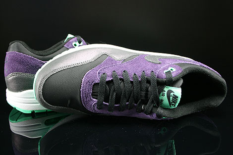 Nike WMNS Air Max 1 Essential Black Anthracite Purple Green Glow Over view