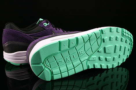 Nike WMNS Air Max 1 Essential Black Anthracite Purple Green Glow Outsole