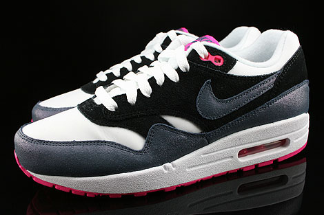 Nike WMNS Air Max 1 Essential White Dark Armory Blue Pink Foil Black Profile