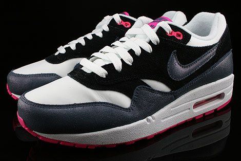 Nike WMNS Air Max 1 Essential White Dark Armory Blue Pink Foil Black Sidedetails