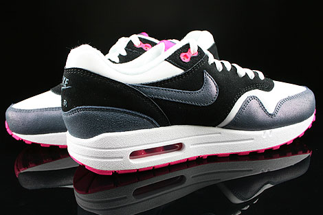 Nike WMNS Air Max 1 Essential White Dark Armory Blue Pink Foil Black Inside