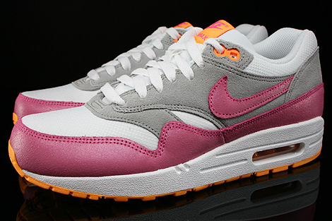 premium selection d1d3a 89fb8 ... Nike WMNS Air Max 1 Essential Weiss Pink Grau Orange Seitenansicht ...