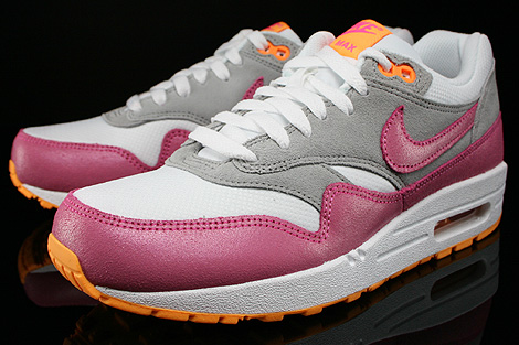 Nike WMNS Air Max 1 Essential Weiss Pink Grau Orange Seitendetail
