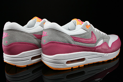 Nike WMNS Air Max 1 Essential Weiss Pink Grau Orange Rueckansicht