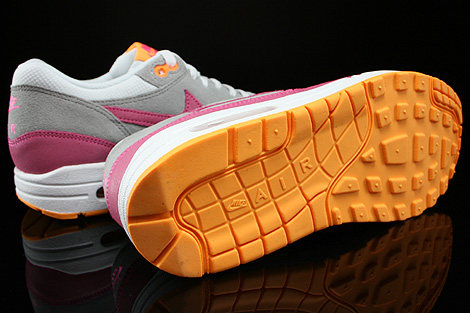 Nike WMNS Air Max 1 Essential Weiss Pink Grau Orange Laufsohle