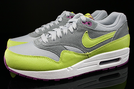 Nike WMNS Air Max 1 Essential Wolf Grey Venum Green Cool Grey Bright Geranium Profile