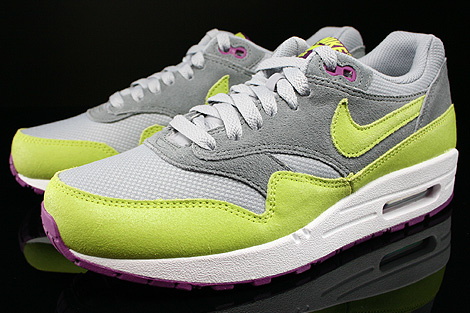 Nike WMNS Air Max 1 Essential Wolf Grey Venum Green Cool Grey Bright Geranium Sidedetails