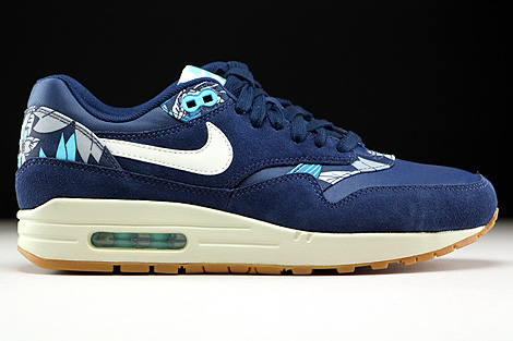 ... Nike WMNS Air Max 1 Print Midnight Navy Sail Tide Pool Blue Right ...