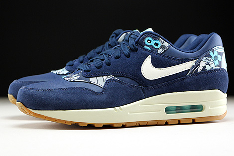 Nike WMNS Air Max 1 Print Midnight Navy Sail Tide Pool Blue Profile